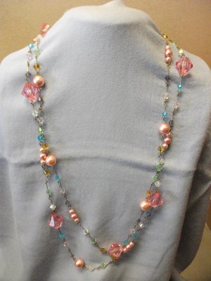 Multicolor Beads Long Chain Necklace with Matching Earrings