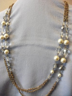 Fake Pearl and Clear Beads Dark Gold Long Chain Necklace