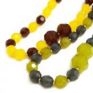Gem Beaded Necklace with Matching Earrings Green/DarkGreen
