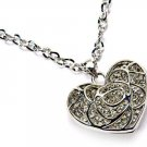 Rose Cutout Rhinestone Encrusted Heart Pendant Necklace Silver Tone