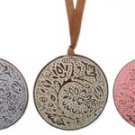 Leaf Enamel Metal Disc Pendants Blue
