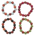 Wood Stretch Bead Bracelet Burgandy/Brown
