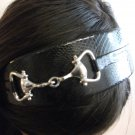 Leather Headband with Metal Detail Black