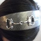 Leather Headband with Metal Detail Grey