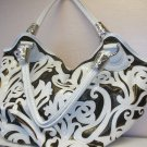 Large White Pleather and Bronze Material Etched Handbag