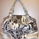 Large Silver Pleather and Bronze Material Etched Handbag