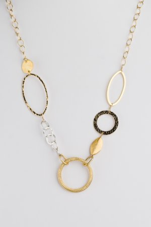 Multi Style Circles and Ovals 14kt Gold Chain Necklace