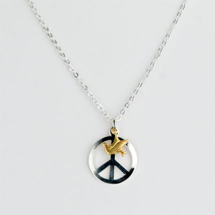 Ofina Sterlingplated Peace with Dove Necklace