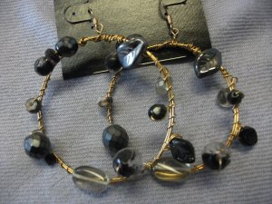 Gold Wire Hoops with Bead Detail