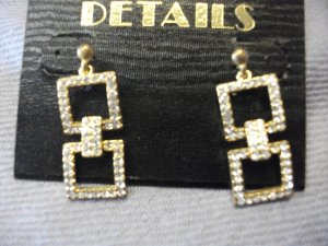 Gold Drop Earrings with Rhinestone Detail