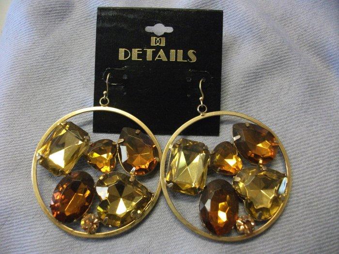 Large Gold Hoop Earrings with Gemstone Detail