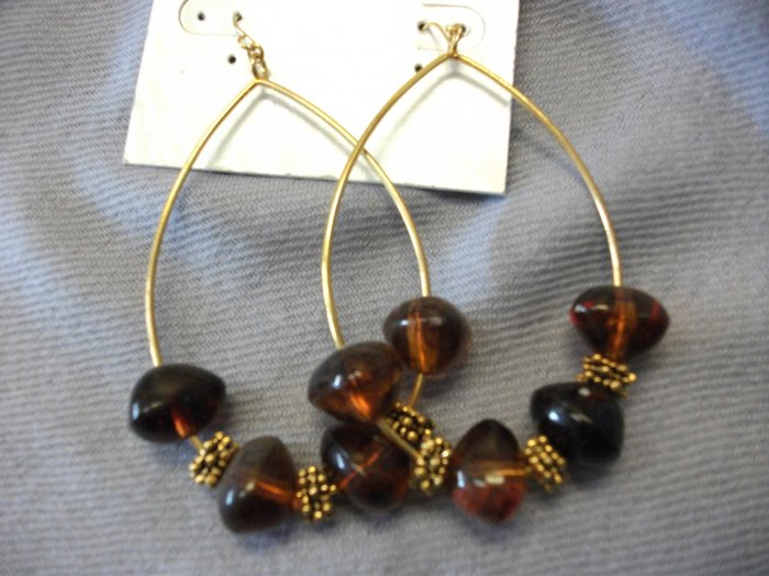 Large Oval Gold Hoops with Brown Beads