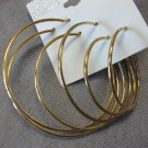 Set of 3 Gold Plain Hoops
