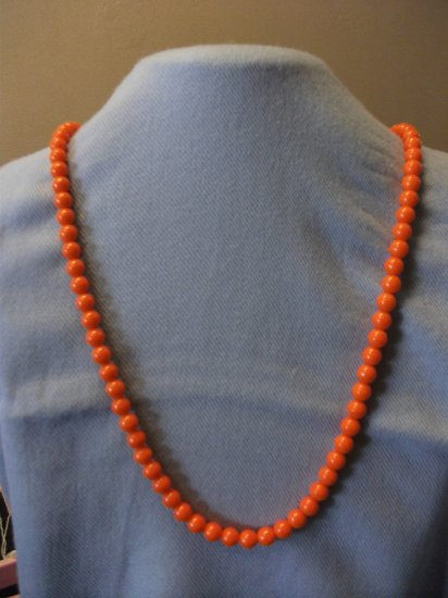 Orange Glass Beads with Ribbon Closure
