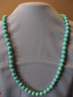 Tuquoise Plastic Beads with Ribbon Closure