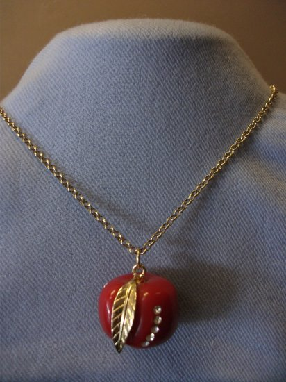 Apple Pendant Necklace with Gold Tone Chain and Rhinestones