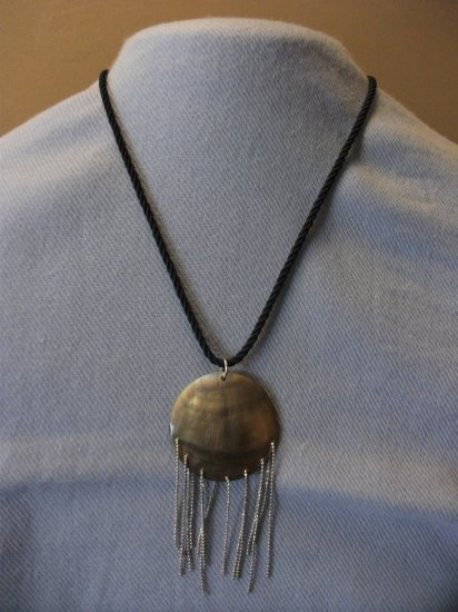 Black Cord with Shell and Silver chain necklace