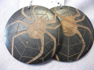 Black Painted Wood Earrings with Spider and Web Detail