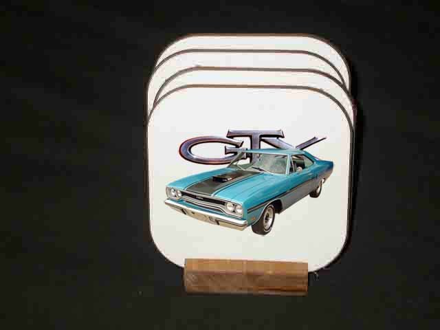 Beautiful 1970 Plymouth GTX Hard Coaster set!