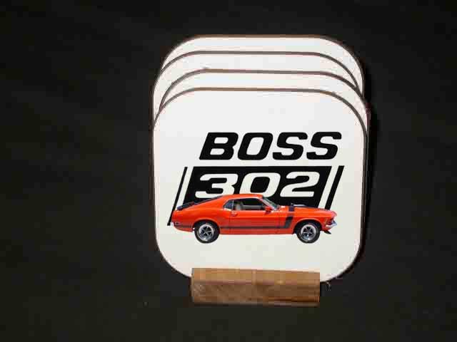 Beautiful 1970 Orange Ford Boss Mustang Hard Coaster set!