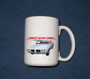 New Huge 15 Oz. White 1970 Pontiac GTO Mug