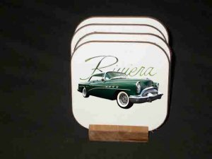 New Green 1954 Buick Riviera RoadMaster Hard Coaster set!!