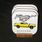 Beautiful 1970 Yellow Ford Mustang Hard Coaster set!