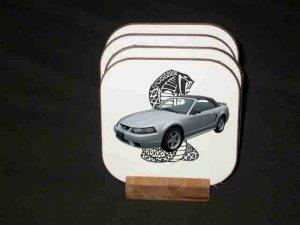 Beautiful Silver 2001 Ford Mustang Cobra Hard Coaster set!