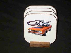 Beautiful Orange 1969 Plymouth GTX Hard Coaster set!