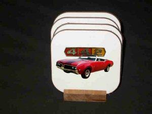 New Red 1969 Oldsmobile Cutlass 442 Convertible Hard Coaster set!
