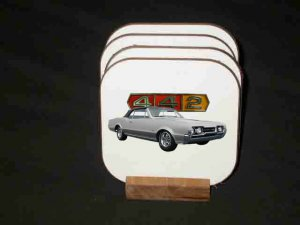 New 1967 Olds 442 Hard Coaster set!