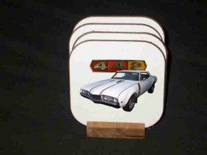 New White 1968 Olds 442 Hard Coaster set!