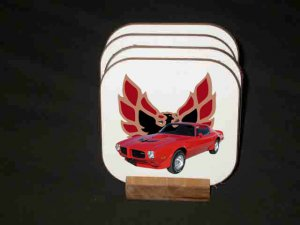 New 1973 Red Pontiac Trans AM Hard Coaster set!