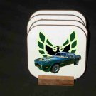 New 1973 Brewster Green Pontiac Trans AM Hard Coaster set!