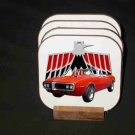 New Red/Orange 1967 Pontiac Firebird Convertible Hard Coaster set!