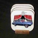 New Blue 1969 Pontiac Firebird Convertible Hard Coaster set!