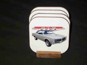 New Silver 1967 Pontiac GTO Hard Coaster set!