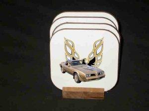 New Gold 1978 Pontiac Trans AM SE Hard Coaster set!