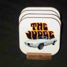 New 1970 White Pontiac GTO Judge Convertible Hard Coaster set!