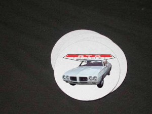 New White 1970 Pontiac GTO Soft Coaster set!!