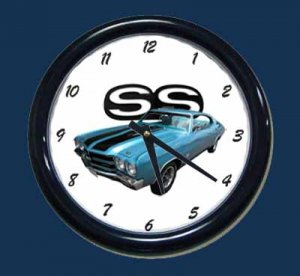 New Blue 1970 Chevy Chevelle SS Wall Clock