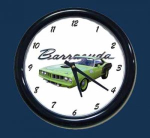 New Lime Green 1971 Plymouth Barracuda Wall Clock