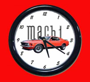 New Red 1970 Mustang Mach 1 Wall Clock