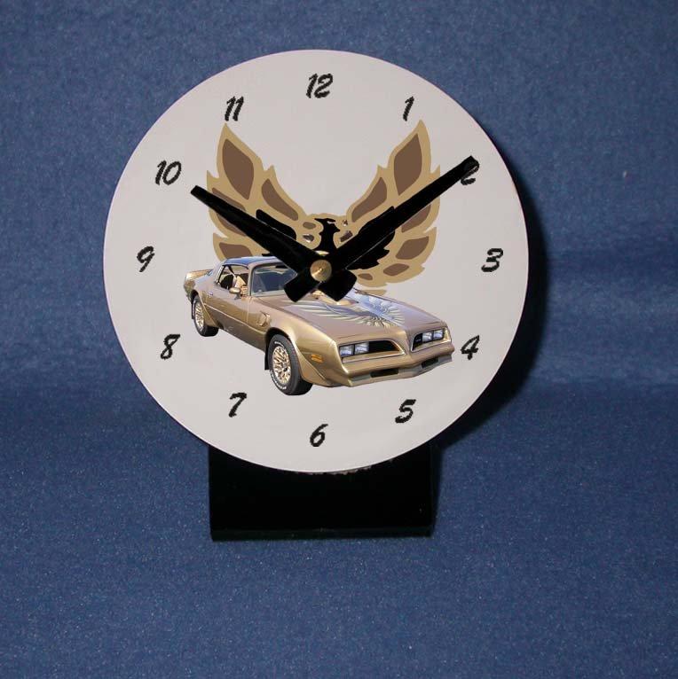 New Gold 1978 Pontiac Firebird Trans AM desk clock!