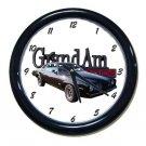 New Black 1973 Pontiac Grand Am Wall Clock
