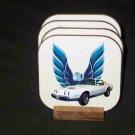 New 1979 White Pontiac Formula Firebird LOGO Hard Coaster set!2