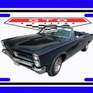 NEW Black 1965 Pontiac GTO Convertible License Plate FREE SHIPPING!