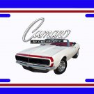 NEW 1967 White Chevy Camaro RS Convertible License Plate FREE SHIPPING!