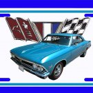NEW 1966 Blue Chevy Chevelle w/ Flag Logo License Plate FREE SHIPPING!