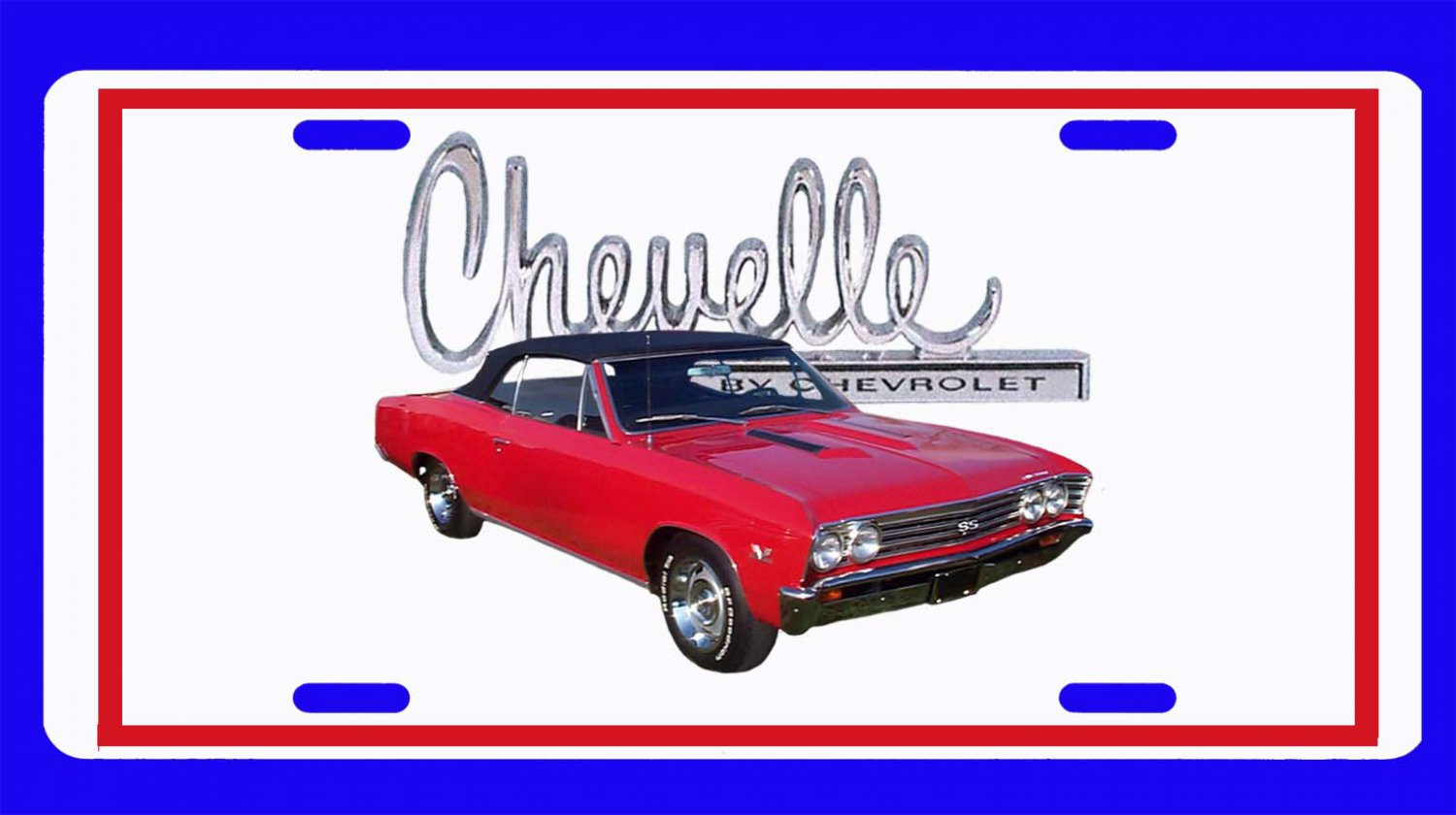 NEW 1966 Red Chevy Chevelle black top w/ Chevelle Logo License Plate FREE SHIPPING!